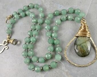 Green Aventurine And Labradorite Gemstone Necklace