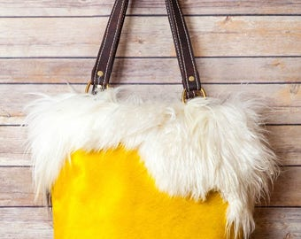 Yellow Cowhide with goat Fur