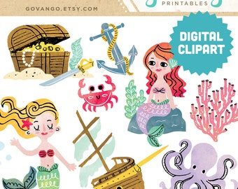 MERMAID Digital Clipart Instant Download Illustration Commercial Us Clip Art Watercolor Party Ocean Under the Sea Crab Anchor Ship Pirate