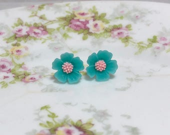 Teal Petals and Pink Center Cherry Blossom Sakura Flower Stud Earrings with Surgical Steel Posts (SE13)