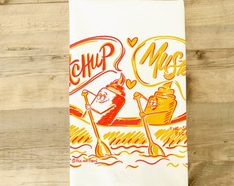 Ketchup Mustard Tea Towel - Hot Dog Kitchen Towel - Picnic theme dish towel - best friends - Retro Kitchen Decor - Yellow and Red - Wedding