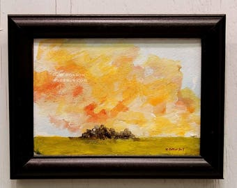 Rescued Frame, Original Art, Original Painting, Lanscape Painting, Winjimir, Home Decor, Office Decor, Design, Recycled, Wall Art, Gift,