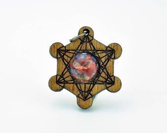 Merkaba Sacred Geometry Mahogany Wood and Blown Glass Laser Cut Pendant, third eye, galaxy glass