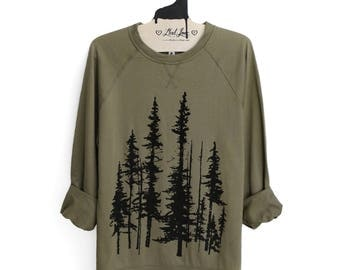 Unisex Large Sweatshirt - Evergreen Trees Screen print on Olive French Terry Raglan Crew Thin Sweatshirt