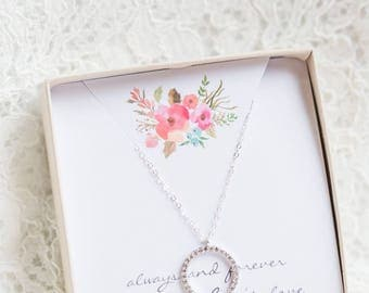 Mothers Necklace, Mom Necklace, Mother in law gift, Diamond CZ Necklace, Mother of the Bride Gift, Eternity Circle Necklace, Gift for Mom