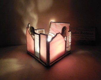 Pink Stained Glass Candle Holder with Glass Gems home office bedroom yoga studio decor Triangle Shaped Tealight Holder