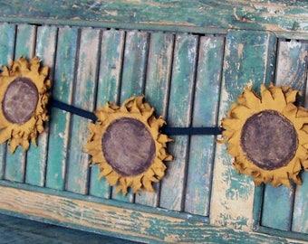 Rustic Sunflower Garland, Farmhouse Style Wall Decor, Primitive Mustard Yellow Flower Swag, Farmhouse Decor - READY TO SHIP
