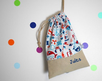 Customizable drawstring pouch - marine - sailor - boat - fish - whale - cuddly toy bag - name - kindergarden -  slippers or toys bag