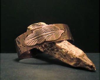 B1581 FEATHER Copper Cuff Bracelet
