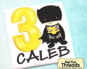 CUSTOM ORDER Black and Yellow Superhero Third Birthday Embroidered Applique Shirt