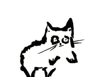 Original Black Cat Gouache Painting ACEO number 161