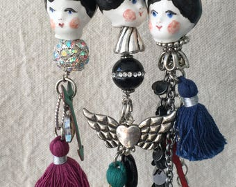 Handmade Doll Head Charm Necklaces with Tassle