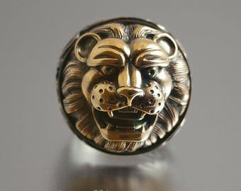 LION'S HEAD silver and bronze stetement ring