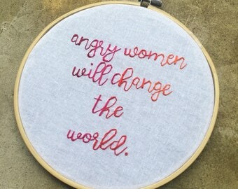 Truth - hand lettered and embroidered protest art wall hanging