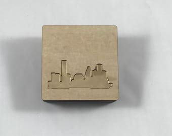 Handmade wood and gold Houston skyline memory box with lift-off lid