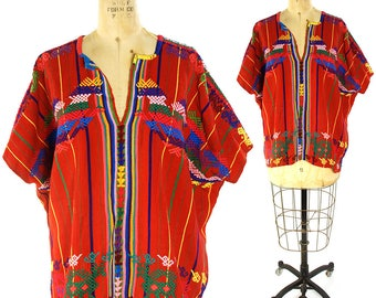 70s Guatemalan Huipil Embroidered Cotton Blouse / Vintage 1970s Ethnic Bohemian Blouse / Hand Embroidery / Hippie Boho Mexican Peasant Folk