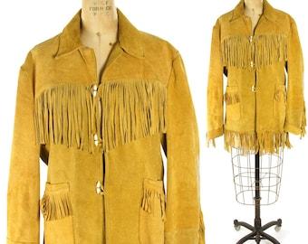 "60s Fringed Suede Jacket / Vintage 1960s Western Hippie Boho Southwestern Cowboy Brown Leather Summer of Love Jacket / 41"" Chest"