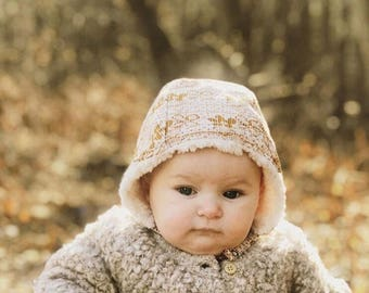 Mustard Yellow Baby Bonnet, Sherpa Lined Baby Bonnet, Vintage Floral Polyester Winter Baby Hat, Bonnet for Baby Girls