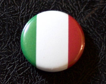 "1"" Italy flag button, country, pin, badge, pinback, Made in USA"