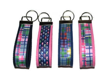 Preppy Madras Plaid Wristlet Key Ring Fob