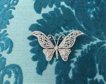 Butterfly Rhinestone Brooch.Butterfly Brooch.Crystal Brooch.Butterfly Pin.Wedding.Bridal.Bride.Silver Butterfly Brooch.Butterfly Pin.Broach