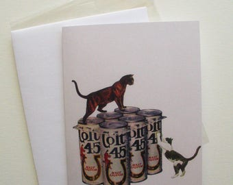 Cats with a 6 Pack of Colt 45 Malt Liquor Greeting Card