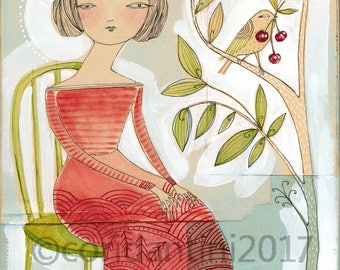 Original Watercolor woman in red dress with bird on a cherry tree ON SALE