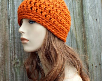 Pumpkin Orange Beanie - Orange Crochet Hat Orange Womens Hat Orange Mens Hat - Warm Winter Hat - Orange Hat - READY TO SHIP