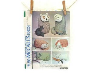 Vintage Animal Pillows Sewing Pattern. | Owl, Pussy Cat, Puppy Dog & Rabbit Pillow Or Toy Pattern