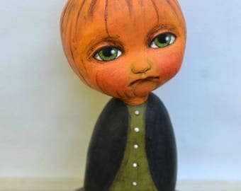 Pumpkin Head JOL Halloween Original Hand Painted Folk Art Anthropomorphic Doll Paper Mache Sculpture OOAK