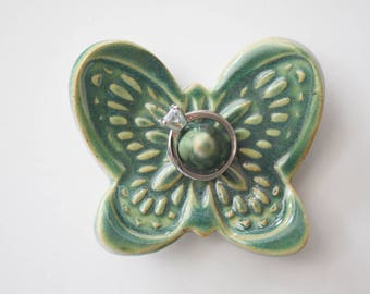 Butterfly Ring Dish in Shimmery Green Metallic Glaze
