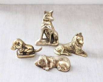 "4 Vintage Brass Mini Dog Figurines - 1-2"" miniature Collie Basset Hound German Shepherd - dog lover gift idea"