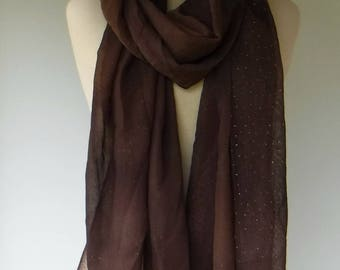 Dupatta/Woman summer scarf, brown Ethnic Vintage Scarf/dupatta scarf/Indian silver dot print scarf, Bohemian scarf, wide long fall scarf