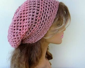 Rose pink slouchy hat, woman hippie small dreadlocks beanie tam hat hairnet snood slouchy crochet hat, slouch beanie/Victorian rose pink hat