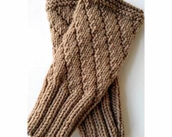 BEIGE Darting Diagonals Fingerless Gloves, Merino Wool Knit Mitts / Gauntlets, Camel, Neutral, Brown, Glovelets, Mitts, Mittens, Texting