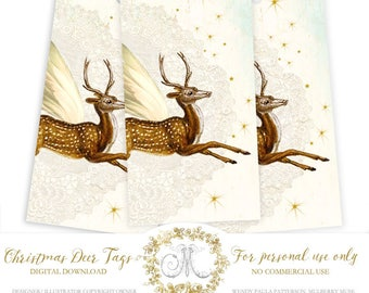 Winged deer, reindeer Christmas gift tag printables, instant digital download, Personal use only