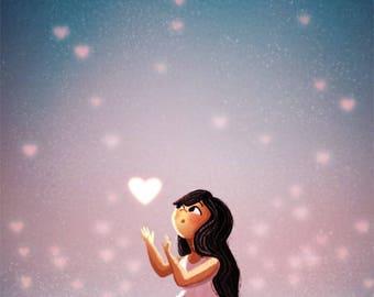 "Love art, Illustration art, Illustration poster - ""Love in Reach"""