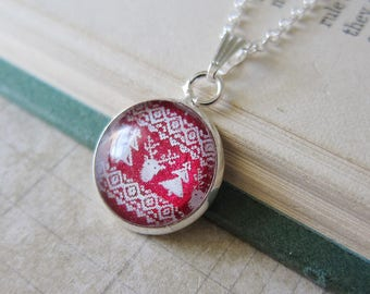 Reindeer Sweater - Red and White Christmas Sweater Pattern Pendant