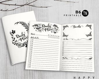 Printable B6 Insert - B6 Traveler's Notebook Insert - B6 daily insert, Daily Traveler's Notebook Insert - Leaves