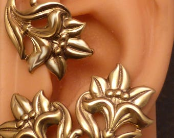 Flower Ear Wrap  - LILY   -  Lovely Golden Brass Ear Cuff Wrap