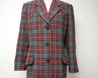 red and gray tartan / plaid womens jacket  .  fits like a size medium to large
