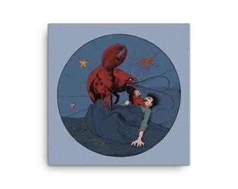 Lobster Revenge | Antique Vegetarian Reproduction Canvas Print | Surreal