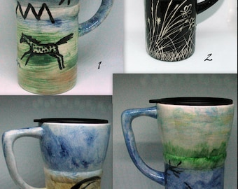 Ceramic 2.5 cup lidded mugs with handpainted, fired designs. Choice of patterns/designs.