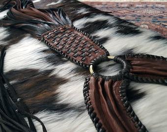 Kai Bib Choker Collar Leather Necklace, Long Woven Basketweave Pendant, Fringe Tassel, African Beads, Silver Gold Rings, Tribal Boho Jewelry