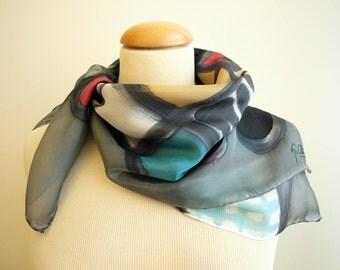 Hand painted Silk Mini - Miró style - Silk scarflette - 27.5x27.5  (70 x 70 cm) Hand painted Silk scarf. Silk mini-scarf . Woman scarf.