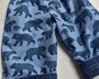 Flannel reversible pants, Bear family, 6m-12m, 12m-18m, 18-24m, 3T