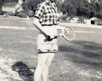 Vintage photo 1940s Pretty Young Lady Playing Tennis Check Dress