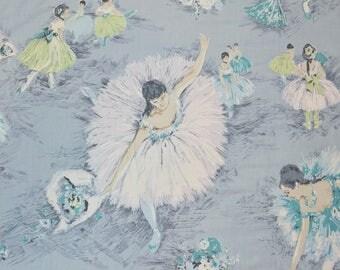 VINTAGE 1940s Ballerina fabric BALLET dancer fabric Edgar Dega inspired fabric to frame