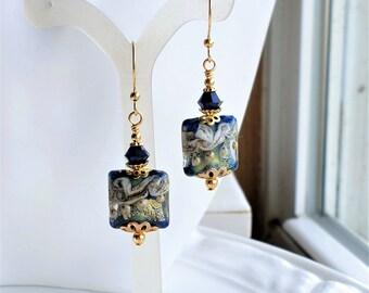 Navy Blue Lampwork Earrings, Dark Blue Lampwork Earrings, Navy Blue Jewelry, Navy Blue Glass Earrings, Gold Earrings, Gold Jewelry, Lampwork