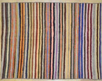 """4.5' x 6' Stripe Vintage Village """"Rag Rug"""" Bright Multicolor"""
